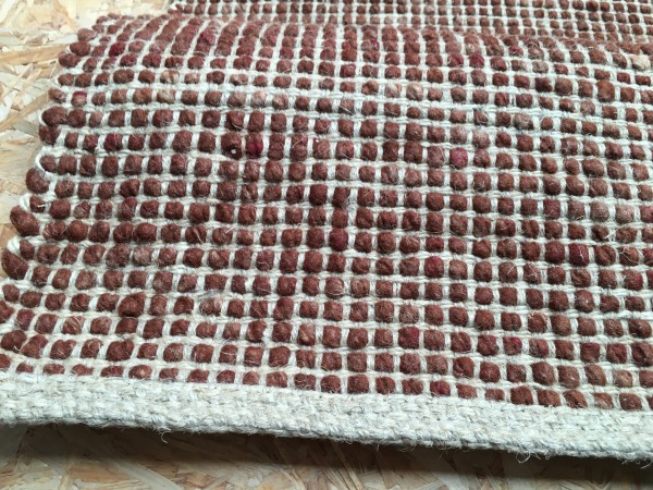 Teppich Schurwolle mit Hanf, schokolade, 70 x 140
