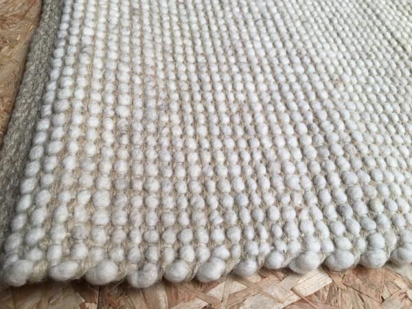 Teppich Schurwolle mit Hanf, naturweiß, 65 x 115