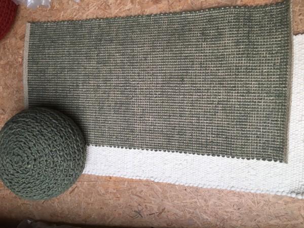 Teppich Schurwolle mit Hanf, grün,70 x 140